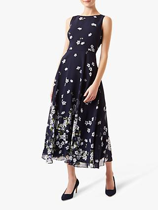Hobbs Carly Floral Print Dress, Midnight/Ivory