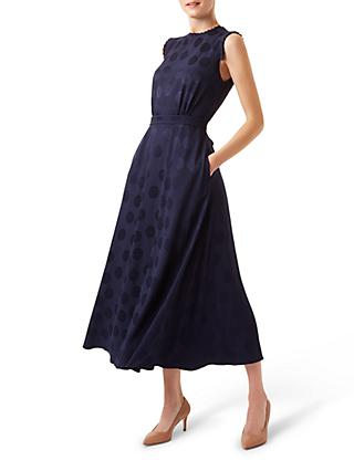Hobbs Ashley Spot Jacquard Dress, Midnight