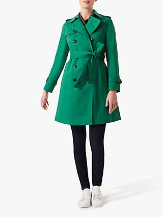 Hobbs London Petite Saskia Trench Coat, Green