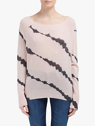 360 Sweater Boat Neck Long Sleeve Tie-Dye Skull Cashmere Jumper, Honey Pink Charcoal