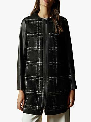 Ted Baker Shellie Faux Leather Sleeve Checked Coat, Black