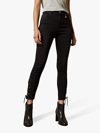 Ted Baker Laycey Lattice Hem Skinny Jeans, Black
