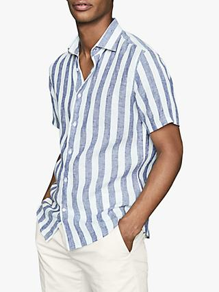 Reiss Bream Wide Stripe Regular Fit Linen Shirt, Blue/White