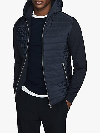 Reiss Basing Hybrid Quilted Full Zip Hoodie, Navy