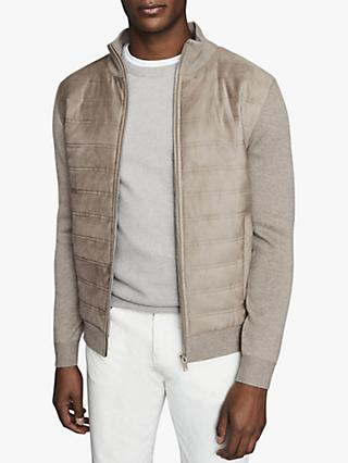 Reiss Bernardi Quilted Ribbed Knit Jacket, Grey