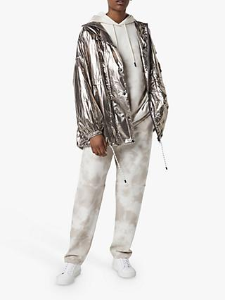 French Connection Clara Foil Windbreaker Jacket, Pewter
