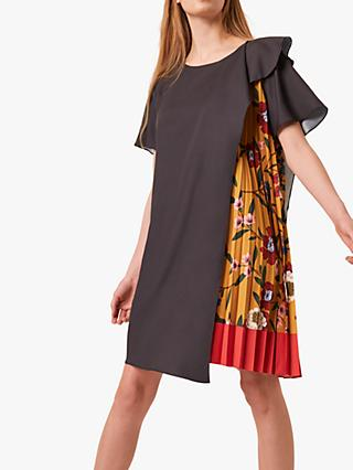 French Connection Eloise Drape Floral Pleat Dress, Black/Mustard Gold