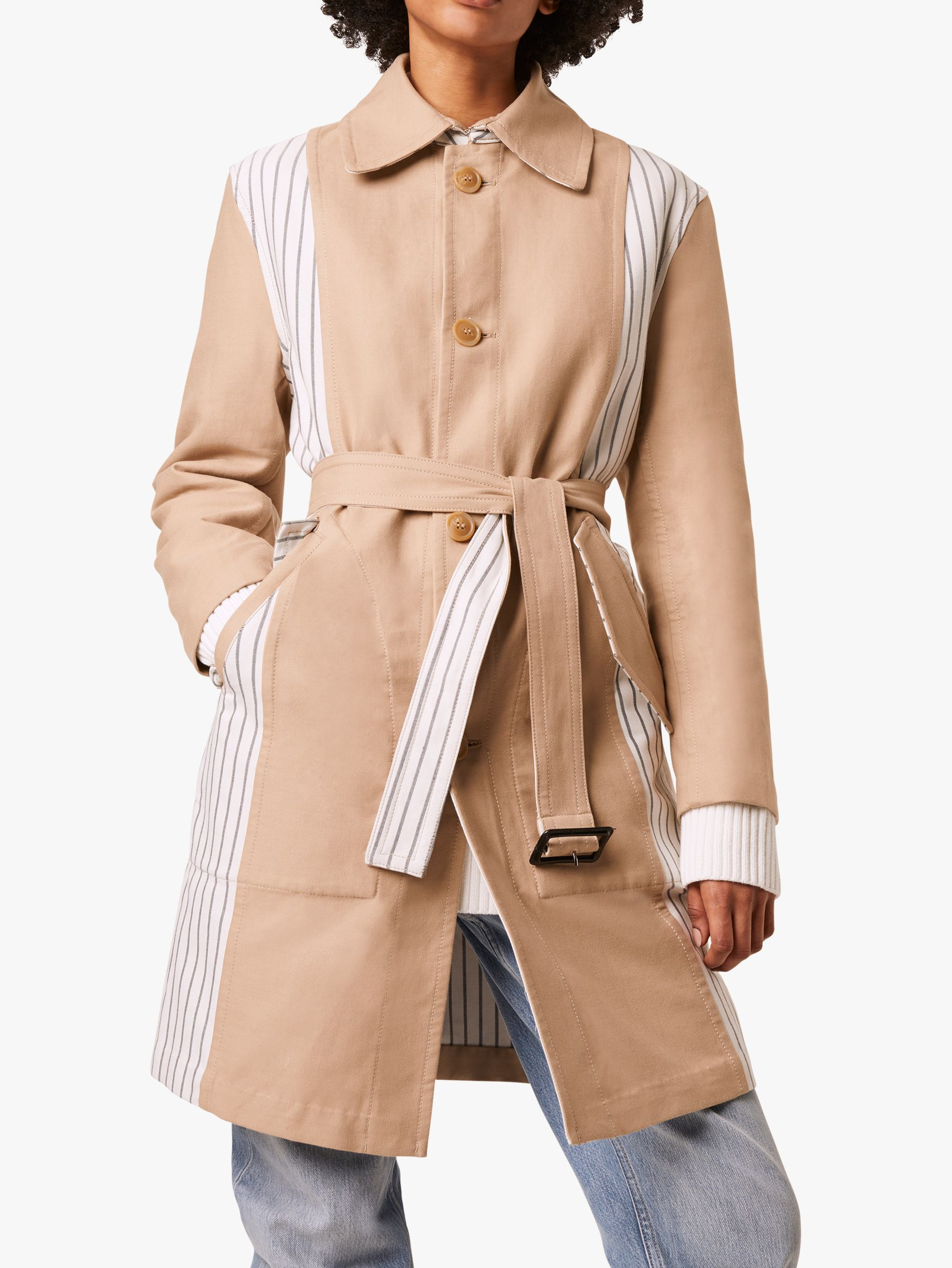 French Connection French Connection Candis Stripe Mix Belted Coat, Multi