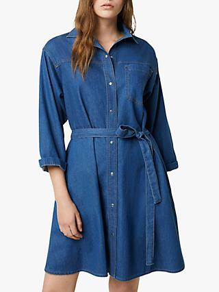French Connection Shani Denim Shirt Mini Dress, Mid Blue