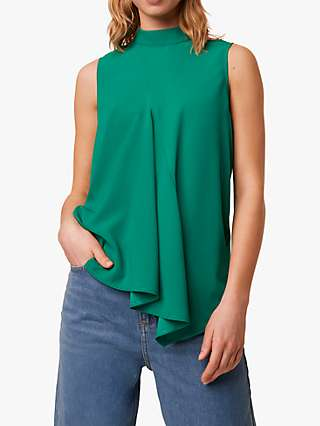 French Connection Abena Mock Neck Sleeveless Top, Bright Green