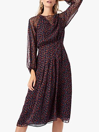 Brora Liberty Silk Chiffon Midi Dress, Spice Flower
