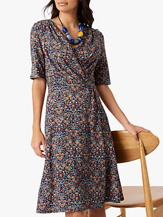Brora Liberty Jersey Wrap Dress, Navy Woodland