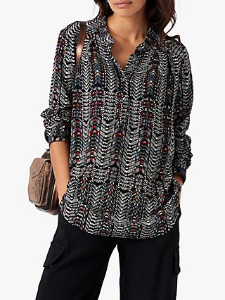 Brora Tribal Print Tunic Top, Olive/Spice