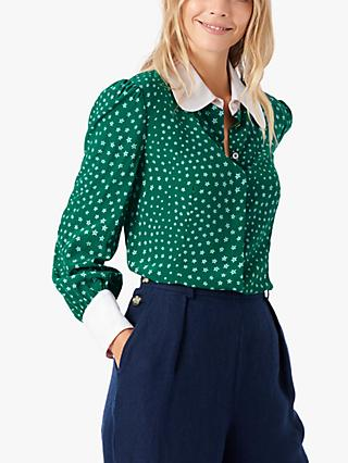 Brora Star Print Silk Shirt, Emerald