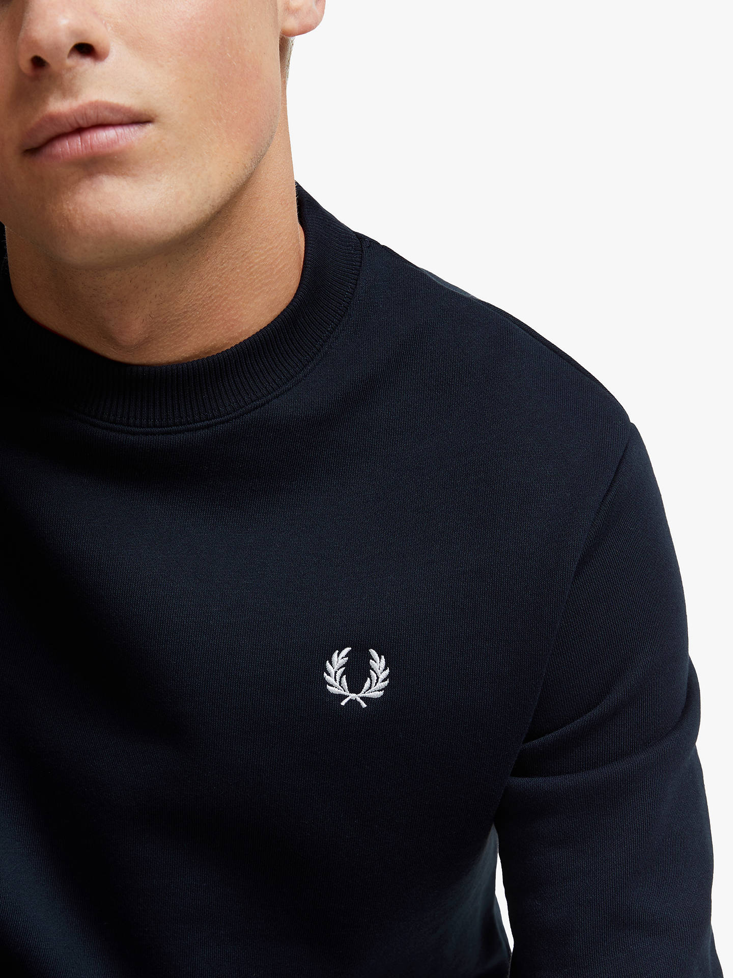 Buy Fred Perry Crew Neck Sweatshirt, Navy, S Online at johnlewis.com
