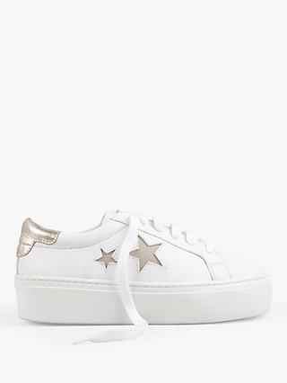 hush Malton Star Low Top Trainers, White/Sand Gold