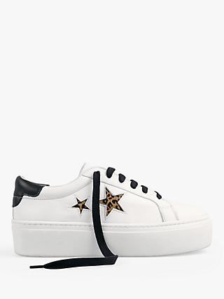 hush Malton Star Low Top Trainers, White/Black Leopard