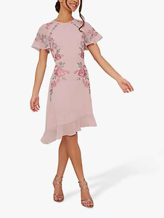 Chi Chi London Bryleigh Floral Embroidery Chiffon Dress, Mink