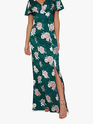 Chi Chi London Meadow Floral Print Maxi Dress, Teal/Multi