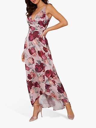 Chi Chi London Mabel Floral Print Wrap Dress, Mink