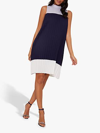 Chi Chi London Quincy Pleated Dress, Navy/White