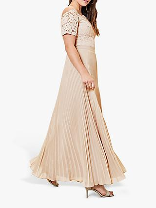 Oasis Pleated Skirt Bardot Lace Top Maxi Dress, Gold