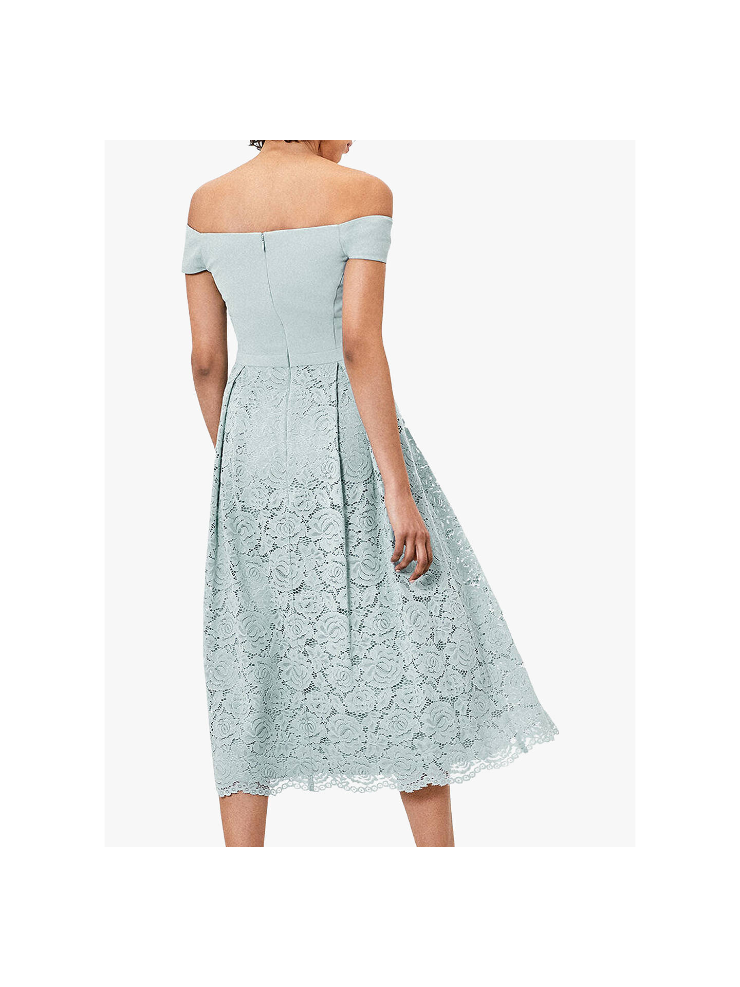 Buy Oasis Lace Skirt Bardot Midi Dress, Pale Green, 12 Online at johnlewis.com