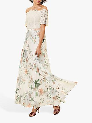 Oasis Pleated Floral Skirt Bardot Lace Top Maxi Dress, Natural/Multi