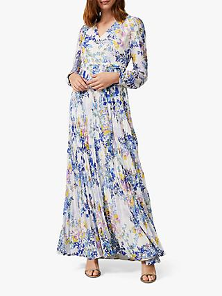 Phase Eight Daryl Pleated Maxi Dress, Lavender/Multi