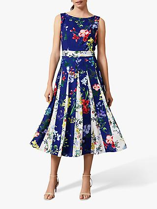 Phase Eight Trudy Two Tone Floral Dress, Cobalt/Multi
