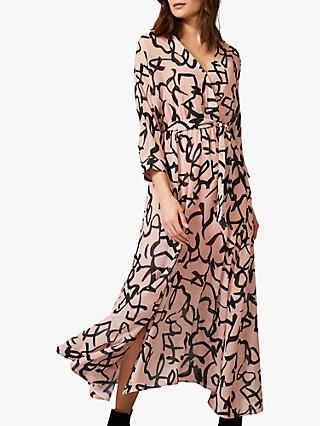 Phase Eight Ayummi Scribble Print Chiffon Dress, Pink