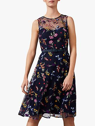 Phase Eight Sindy Embroidered Dress, Navy