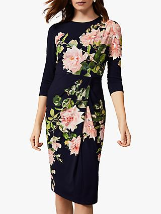 Phase Eight Tracy Floral Jersey Dress, Navy/Multi