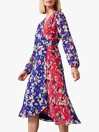 Phase Eight Claudette Patched Floral Dress, Electric Blue/Fuchsia