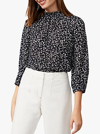 Phase Eight Shani Ditsy Lace Print Blouse, Navy/Ivory
