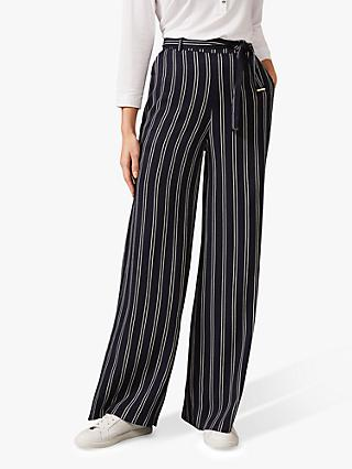 Phase Eight Lucas Stripe Wide-Leg Trousers,, Navy/Ivory