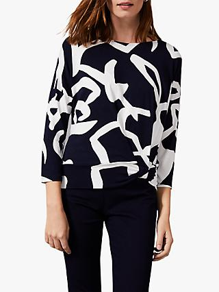 Phase Eight Ayumi Abstract Print Top, Navy/Ivory