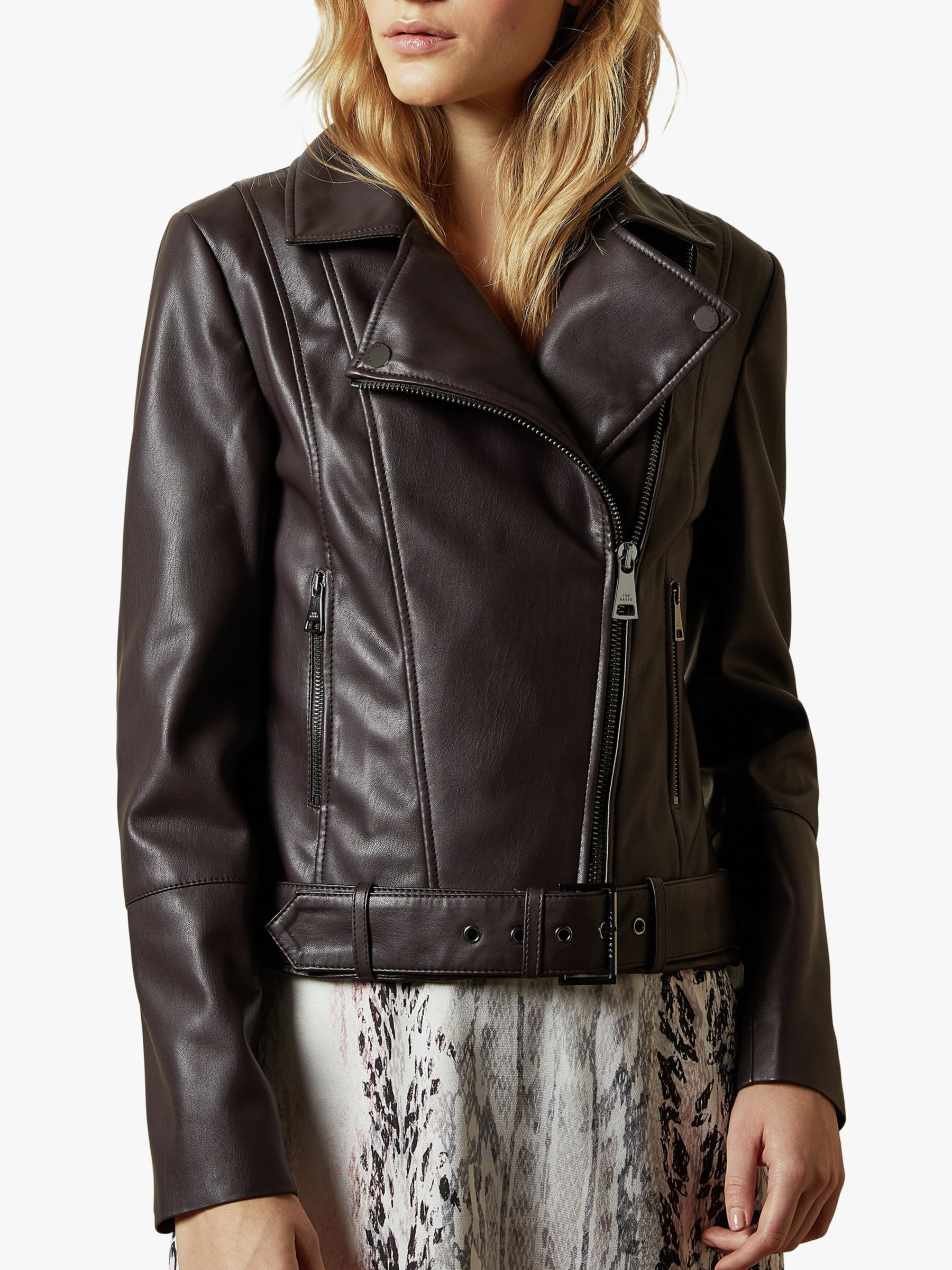 Ted Baker Ted Baker Pipiy Faux Leather Biker Jacket, Dark Purple