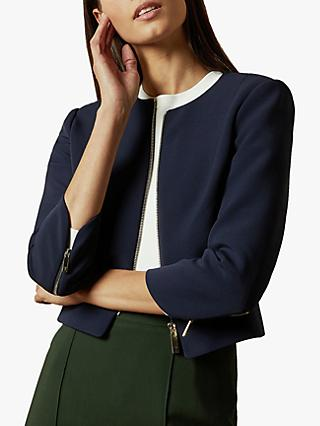 Ted Baker Eliaana Cropped Zip Jacket, Navy