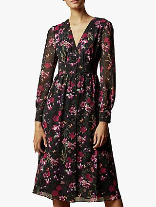 Ted Baker Adriela Fern Forest Midi Dress, Black