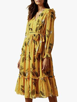 Ted Baker Elissea Savanna Long Sleeve Dress, Yellow Mid