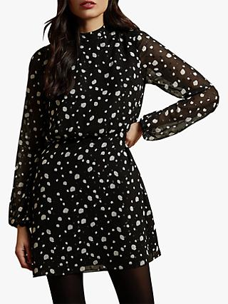 Ted Baker Floelle Spot Mini Dress, Black