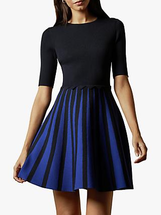 Ted Baker Salyee Short Sleeved Knitted Skater Dress, Dark Blue