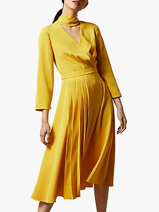 Ted Baker Jilliie Tie Neck Midi Dress, Yellow