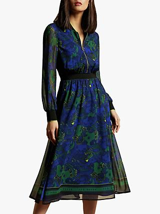 Ted Baker Maesie Stargaze Zip Front Rib Cuff Midi Dress, Dark Blue