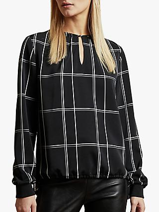 Ted Baker Melo Keyhole Check Top, Black