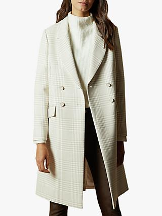 Ted Baker Sophili Double Breasted Check Coat, Natural