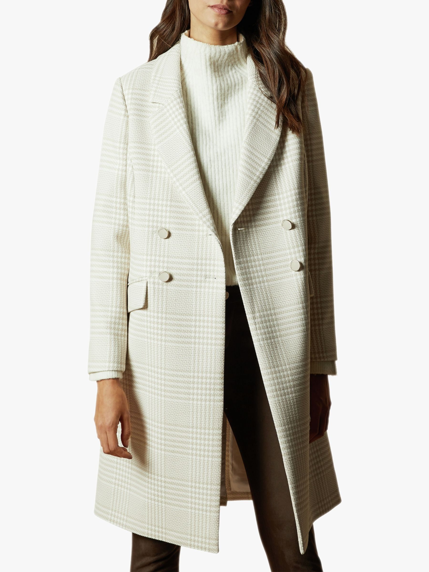 Ted Baker Ted Baker Sophili Double Breasted Check Coat, Natural