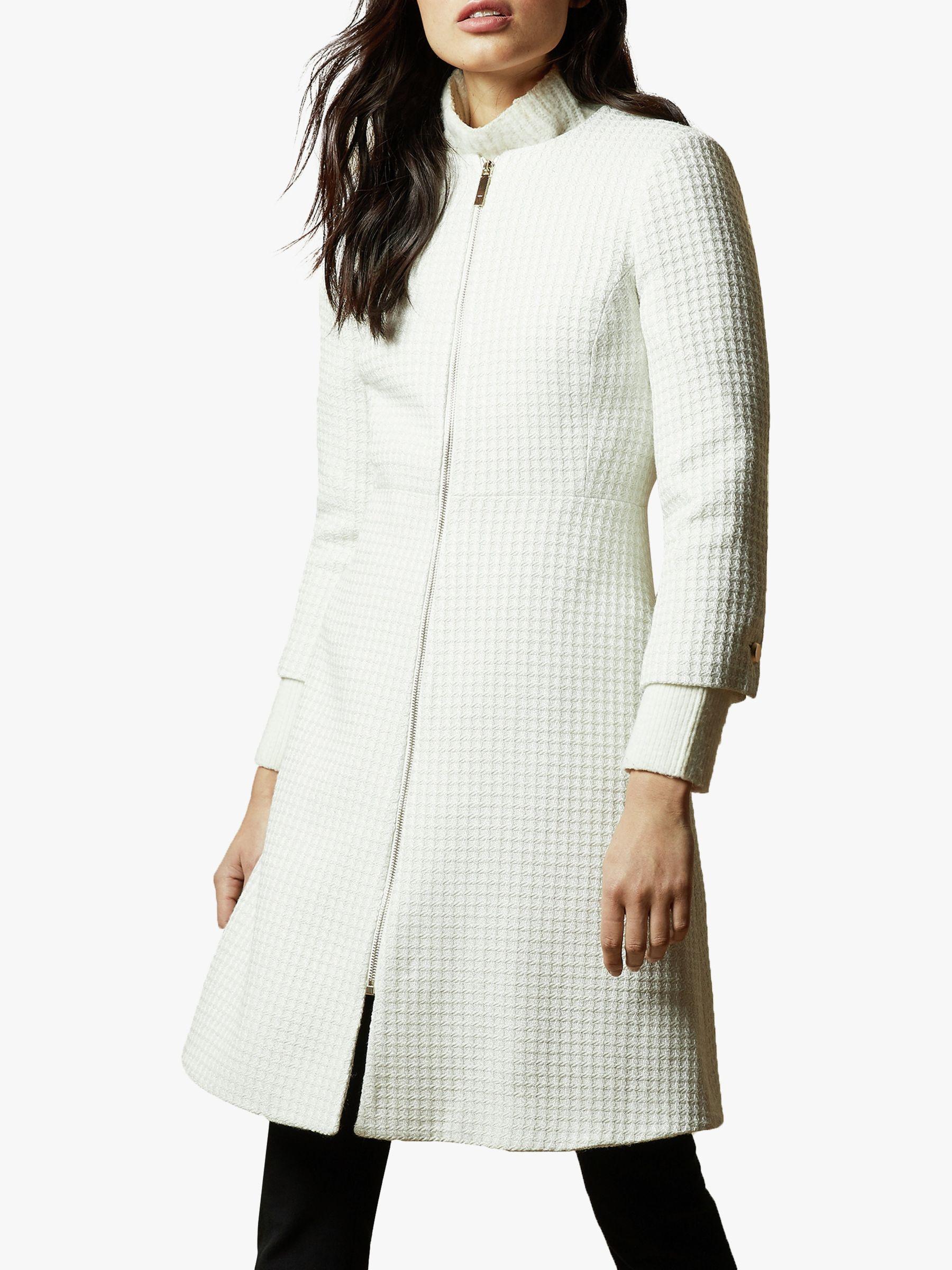 Ted Baker Ted Baker Accra Textured Dress Coat, White