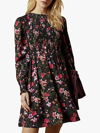 Ted Baker Aerrin Fern Forest Mini Dress, Black